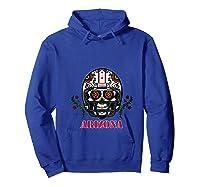 Arizona Football Helmet Sugar Skull Day Of The Dead T Shirt Hoodie Royal Blue
