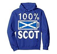 Scotland Flag T Shirt 100 Scot Battery Power Tee Hoodie Royal Blue