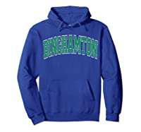 Binghamton T Shirt Ny Varsity Style Green Text Hoodie Royal Blue