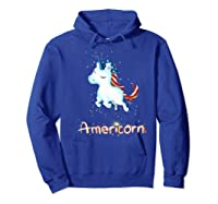Americorn 4th Of July Patriot Usa Unicorn Lovers Funny Gift Premium T-shirt Hoodie Royal Blue