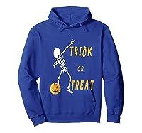 Trick Or Treat Dabbing Skeleton Pumpkin Bucket Halloween Dab Shirts Hoodie Royal Blue