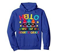 Hello First Day Of Fourth Grade Cute Crayon Student Tea Shirts Hoodie Royal Blue