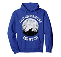 I Love Horror Movies And My Cat T Shirt Hoodie Royal Blue