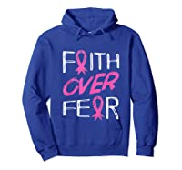 Faith Over R Breast Cancer Awareness Month Pink Ribbon Tank Top Shirts Hoodie Royal Blue