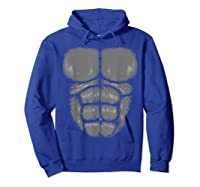 Halloween Funny Gorilla Monkey Belly Chest Costume Shirt Hoodie Royal Blue