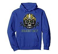 Green Bay Football Helmet Sugar Skull Day Of The Dead Premium T-shirt Hoodie Royal Blue
