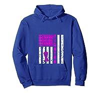 Breast Cancer Awareness Month Flag Fighter Survivor Gift T Shirt Hoodie Royal Blue