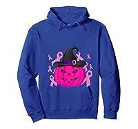 Pink Ribbon Pumpkin Halloween Breast Cancer Awareness Month T Shirt Hoodie Royal Blue