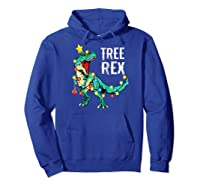 Christmas Tree Rex Shirts Dinosaur T-rex Raglan Baseball Tee Hoodie Royal Blue