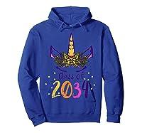 Unicorn Face Class Of 2034 First Day Kindergarten Girls Gift T-shirt Hoodie Royal Blue