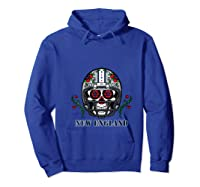 New England Football Helmet Sugar Skull Day Of The Dead T Shirt Hoodie Royal Blue