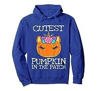 Cutest Pumpkin In The Patch Unicorn Halloween Girls Gift Shirts Hoodie Royal Blue