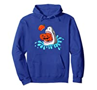Shark Eats Jack O Lantern Funny Halloween Girls Shirts Hoodie Royal Blue