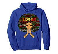 Blacknificient Words Art Afro Natural Hair Black Queen Gift Shirts Hoodie Royal Blue
