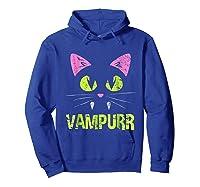 Halloween Scary Cat Vampire Vampurr Girl Shirts Hoodie Royal Blue
