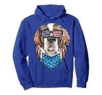 Fourth Of July Bernard American Flag July 4th St Bernard Dog T Shirt Hoodie Royal Blue