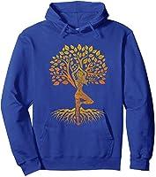 Da Baum Des Lebens With Woman Yoga T-shirt Chakra Haka Yoga T-shirt Hoodie Royal Blue