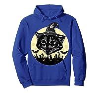 Vintage Scary Halloween Black Cat Witch Hat Moon Pumpkin Bat T Shirt Hoodie Royal Blue