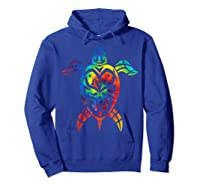 Save Sea Turtles Rainbow Tie Dye Hawaiian Shirts Hoodie Royal Blue