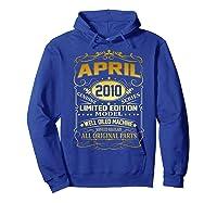 April 2010 Vintage 9th Birthday 9 Years Old Gift Shirt Hoodie Royal Blue