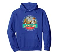 Amarillo Tx Texas Historic Route 66 Longhorn Cowboy Souvenir Premium T-shirt Hoodie Royal Blue