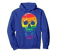 Lgbt Gay Pride T-shirt Skull Rainbow Hoodie Royal Blue