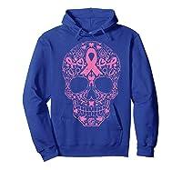Sugar Skull Pink Ribbon Calavera Breast Cancer Awareness T Shirt Hoodie Royal Blue