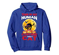 Cat Funny Halloween T-shirt For Girls Adults Hoodie Royal Blue