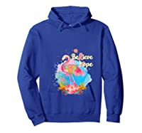 Pink Flamingo Believe Hope Breast Cancer Awareness Month T Shirt Hoodie Royal Blue