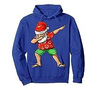 Dabbing Santa Christmas In July Party Hawaiian Santa Beach Shirts Hoodie Royal Blue