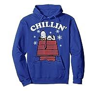 Peanuts Snoopy Holiday Chillin Shirts Hoodie Royal Blue