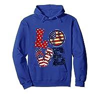 Love Softball Usa Flag 4th Of July Flip Flop Softball Usa Shirts Hoodie Royal Blue