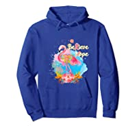 Pink Flamingo Believe Hope Breast Cancer Awareness Month Tank Top Shirts Hoodie Royal Blue