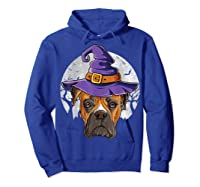 Boxer Witch Hat Funny Halloween Gifts Dog Lover Girls T-shirt Hoodie Royal Blue