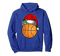 Ball Basketball Santa Hat Christmas Matching Funny Gifts Shirts Hoodie Royal Blue