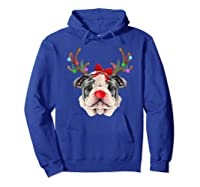 Funny Bulldogs With Antlers Light Christmas Shirts Hoodie Royal Blue