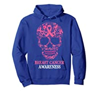 Breast Cancer Awareness Month Skull Halloween Shirts Hoodie Royal Blue