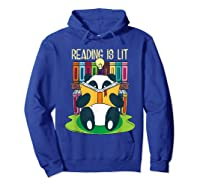 Reading Is Lit Panda Bear Funny English Tea Tee T Shirt Hoodie Royal Blue