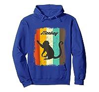 Monkey Shirt Retro 70s Vintage Animal Lover Art Design Tank Top Hoodie Royal Blue