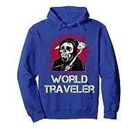Grim Reaper World Traveler Dark Humor Black Metal Shirts Hoodie Royal Blue