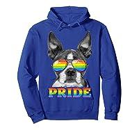 Boston Terrier Gay Pride Lgbt Rainbow Flag Sunglasses Lgbtq T-shirt Hoodie Royal Blue
