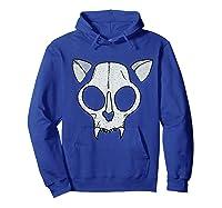 Spooky Cat Skull Halloween Creepy Horror Kitty Skeleton Face T Shirt Hoodie Royal Blue