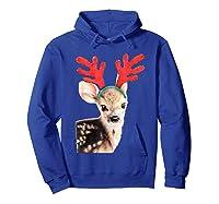 Cute Festive Fawn Wearing Reindeer Antlers Shirts Hoodie Royal Blue