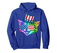 Ally Rainbow Cat Lesbian Gay Pride Gift America Flag Shirts Hoodie Royal Blue