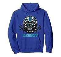 Detroit Football Helmet Sugar Skull Day Of The Dead T Shirt Hoodie Royal Blue