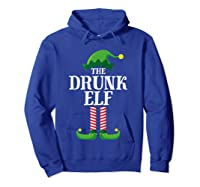 Drunk Elf Matching Family Group Christmas Party Pajama Shirts Hoodie Royal Blue