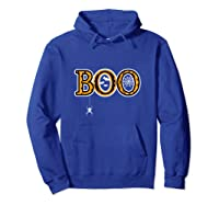 Boo Halloween With Spider Web And Bats Shirts Hoodie Royal Blue