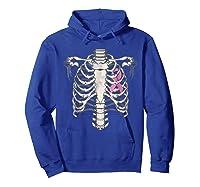 Skeleton Halloween Shirt Breast Cancer Awareness Month Tee Hoodie Royal Blue