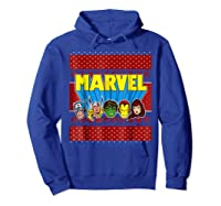 Avengers Classic Ugly Christmas Sweater Shirts Hoodie Royal Blue