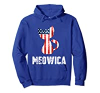 Patriotic 4th Of July Shirt Meowica American Flag Cat Lovers T-shirt Hoodie Royal Blue